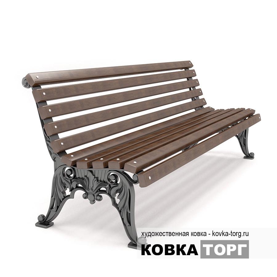 Белые ночи - уличная скамейка из чугуна без подлокотников